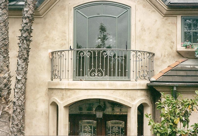 This Iron Faux Balcony Rail In Villa Park Ca Was Installed Above The Front Door For Purely Aesthetic Purposes English Tudor Style Of