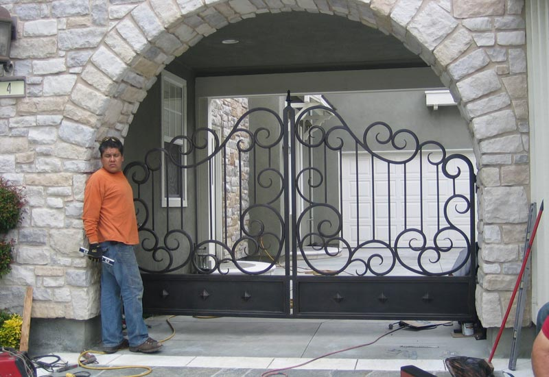 ornate wrought iron gate arched ornamental wrought iron driveway gates angels gallery orange county ca