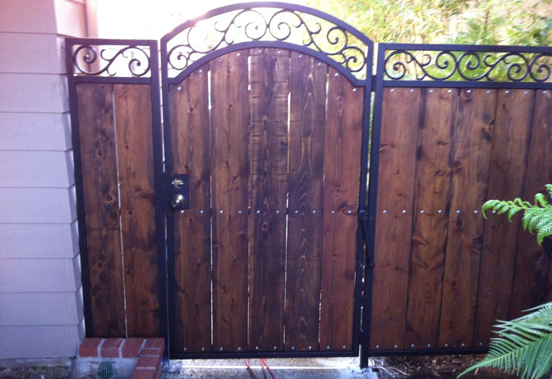 Ornamental wrought iron gates angels