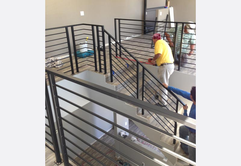 this chic modern office in san clemente ca needed a wrought iron staircase railing to match the finished staircase was one of the most