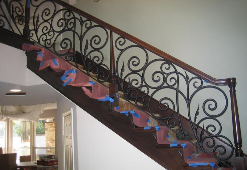 This Timeless Wrought Iron And Wood Tuscan Staircase Railing In Yorba  Linda, CA Was Custom Built To Fit Between The Wood Posts.