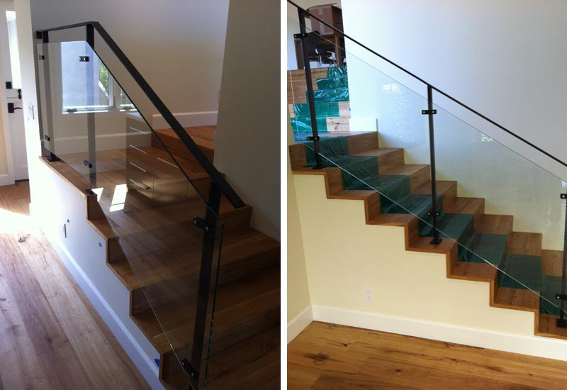 This Simple Modern Wrought Iron And Glass Staircase Railing In Laguna  Beach, CA Blends Well With The Rustic Charm Of This Cottage.