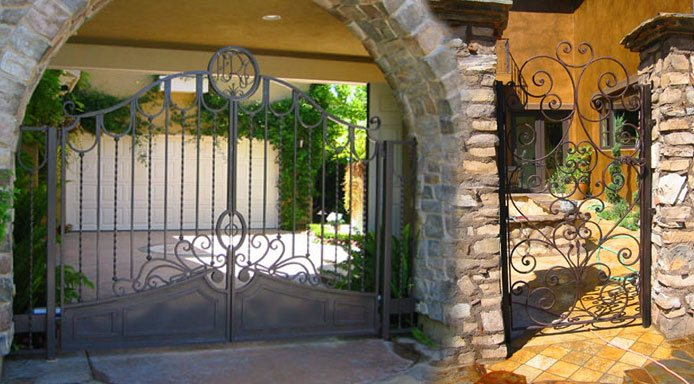 House Iron Gates Wall Spanish Style Colors